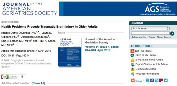 ЧМТ, Journal of American Geriatrics Society