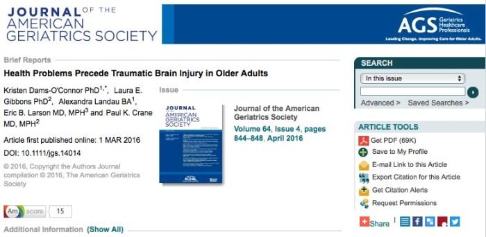 ЧМТ, Journal of American Geriatrics Society