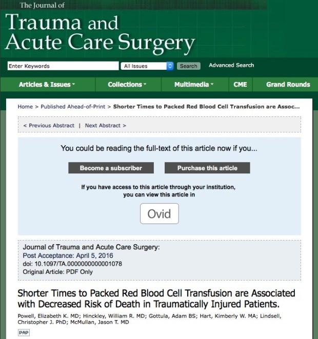 переливание крови, Journal of Trauma and Acute Care Surgery