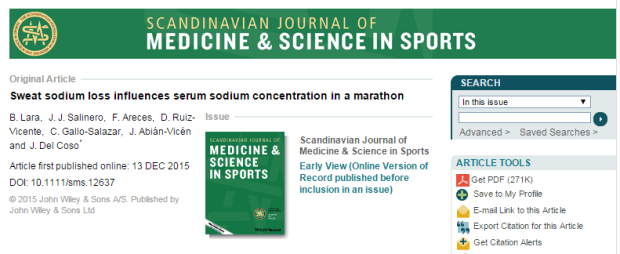 пот, натрий, Scandinavian Journal of Medicine and Science in Sports