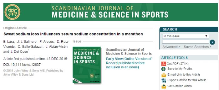 пот, натрий, Scandinavian Journal of Medicine and Science in Sports