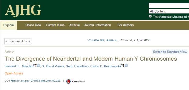 American Journal of Human Genetics, неандертальцы, генетический анализ