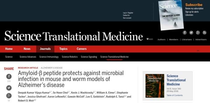 болезнь Альцгеймера, Science Translational Medicine