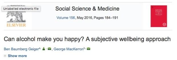 алкоголь, счастье, Social Science & Medicine