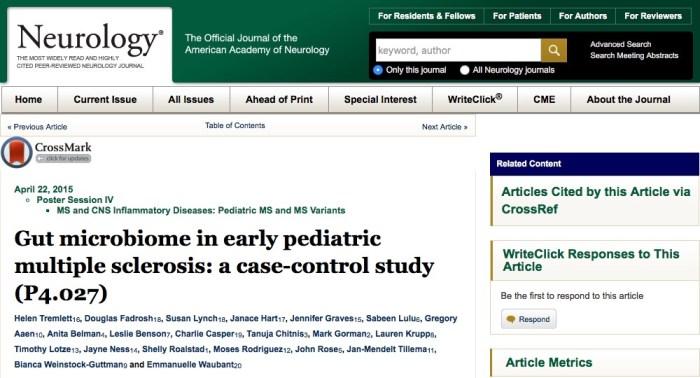 кишечная микрофлора, рассеянный склероз, European Journal of Neurology