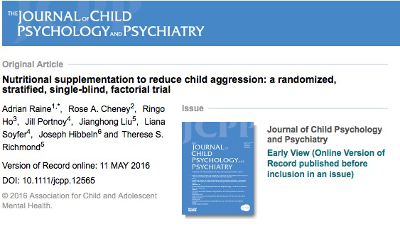 омега-3, агрессия, дети, Journal of Child Psychology and Psychiatry