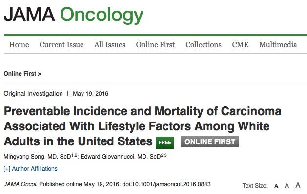 рак, здоровый образ жизни, JAMA Oncology