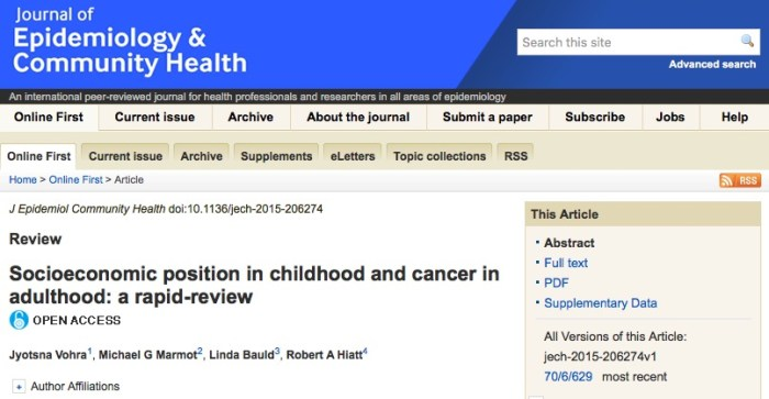 рак, Journal of Epidemiology and Community Health