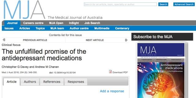 антидепрессанты, Medical Journal of Australia