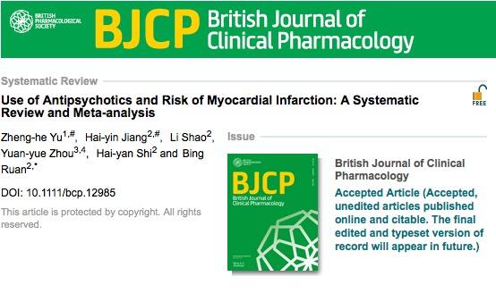 инфаркт, антипсихотические препараты, British Journal of Clinical Pharmacology