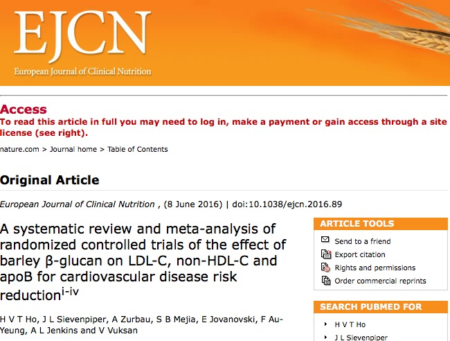 ячмень, холестерин, European Journal of Clinical Nutrition.