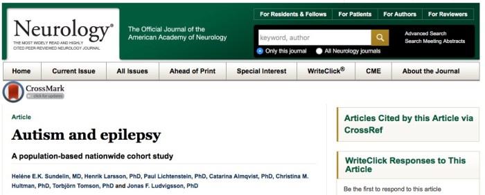 аутизм, эпилепсия, Neurology
