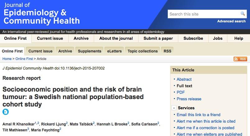 опухоль головного мозга, Journal of Epidemiology & Community Health