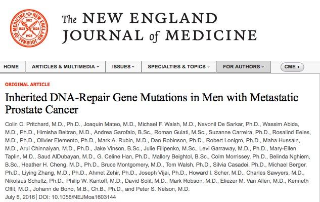рак предстательной железы, New England Journal of Medicine