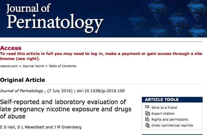курение, беременность, Journal of Perinatology