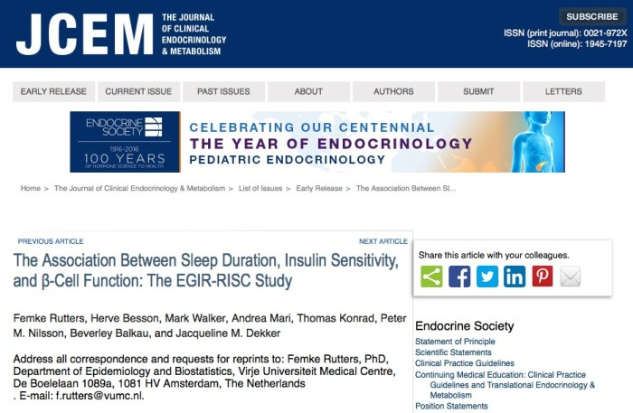 диабет, The Journal of Clinical Endocrinology & Metabolism