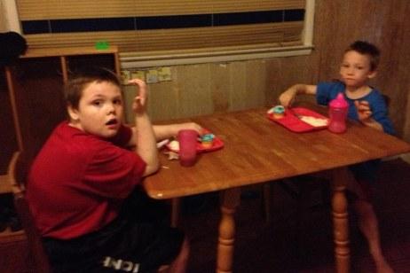 Dawn Cullins boys at table