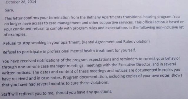 10.28.14 Notice of Termination of service at Bethany