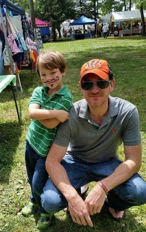 Camden and dad moustache