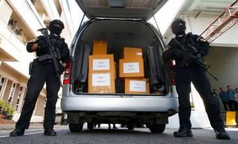 Armed Thailand Police with Cannabis Marijuana