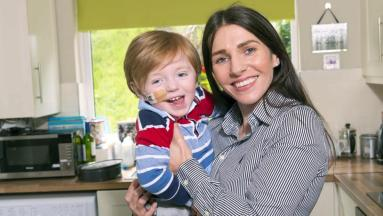Irish mother and child smiling kitchen