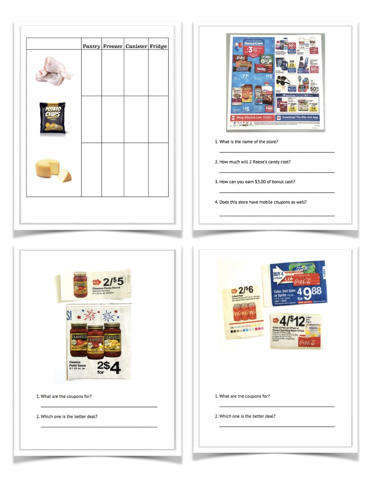 Functional Reading Activities Groceries