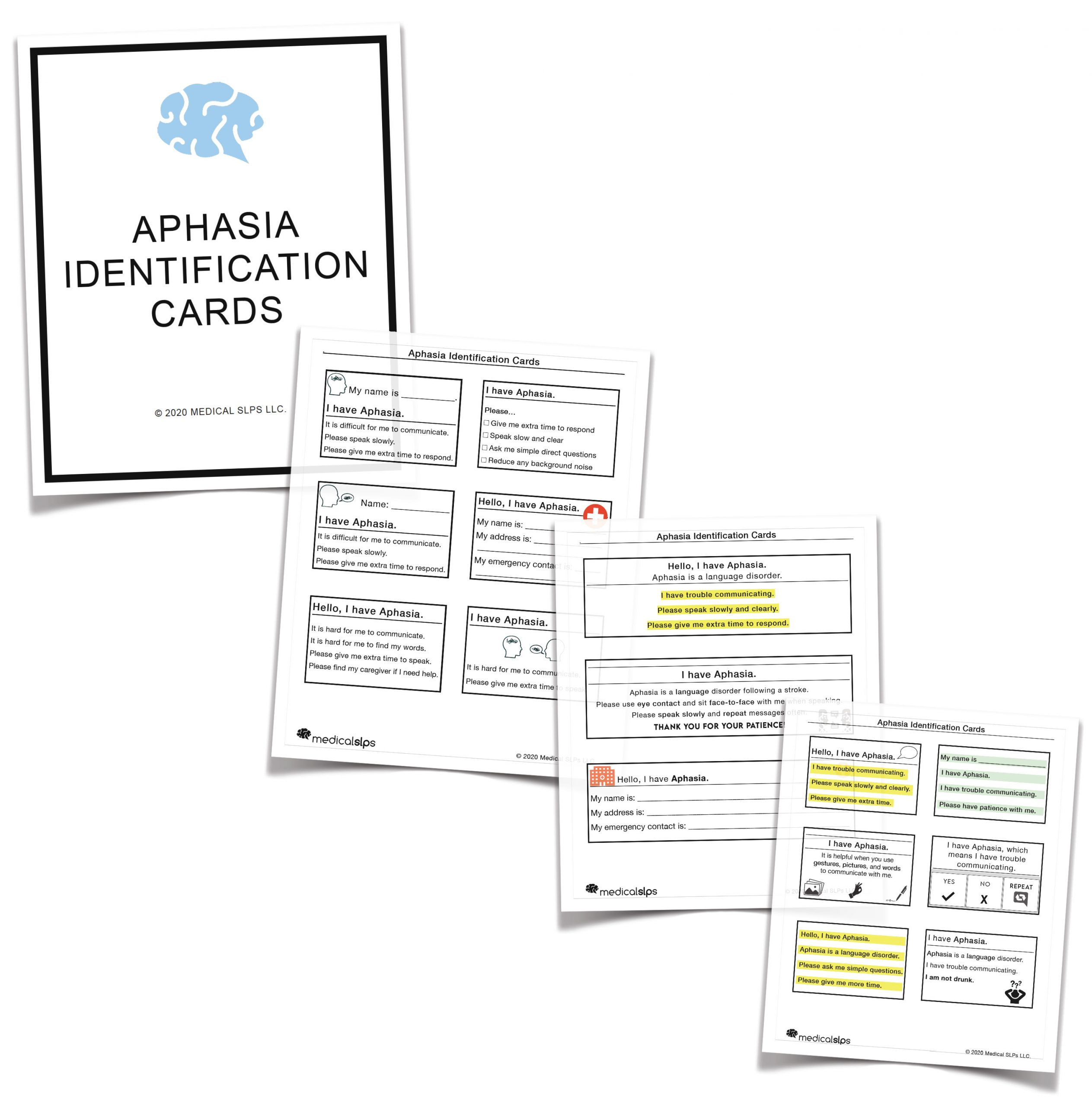 Aphasia Identification Cards
