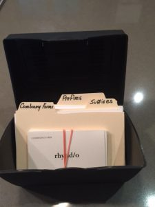 Medical Terminology -Paper Flashcard Filed in a Container -