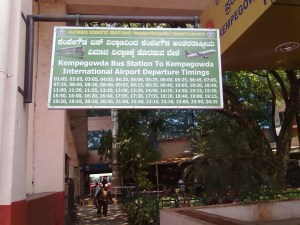 Airport bus timetable, Bangalore, India
