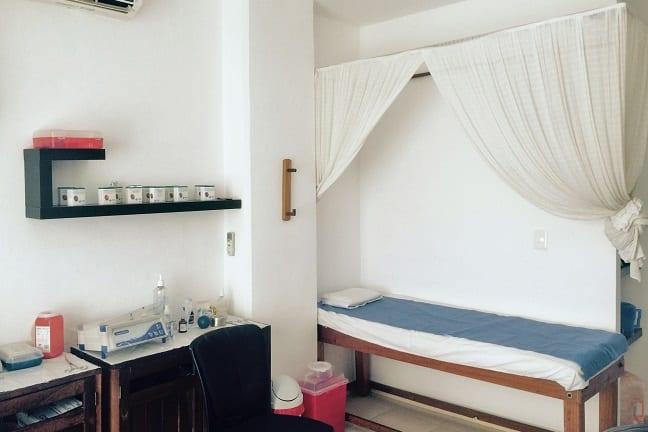 One of the treatment rooms at Sana clinic, Playa del Carmen, Mexico