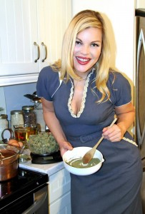*** VIDEO AVAILABLE *** Vancouver, Canada - February 15, 2015: Mary Jean Dunsdon, aka Watermelon, poses in her kitchen while cooking with marijuana. SEXY chef Mary Jean Dunsdon brings new meaning to hotpot - baking a range of cannabis infused dishes. The 35-year-old has her own cooking show 'Baking A Fool' of myself where she entices viewers with her sultry cooking style. And the glamour girl even poses nude amongst crops of marijuana - which is legal for medicinal purposes in her hometown of Vancouver, Canada. PHOTOGRAPH BY Maria Coletsis / Barcroft USA UK Office, London. T +44 845 370 2233 W www.barcroftmedia.com USA Office, New York City. T +1 212 796 2458 W www.barcroftusa.com Indian Office, Delhi. T +91 11 4053 2429 W www.barcroftindia.com