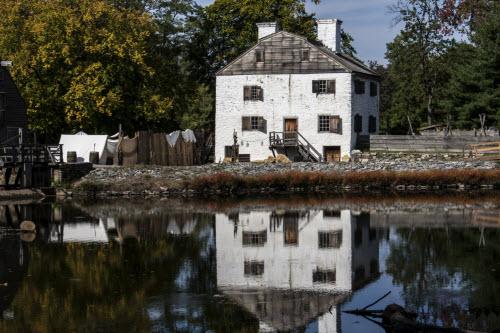 White house on pond