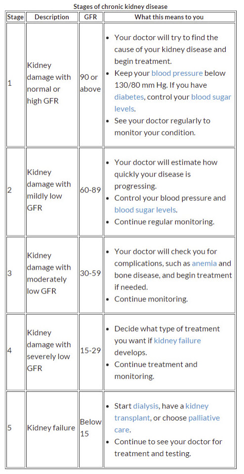Kidney disease stages