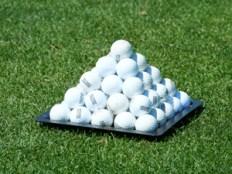 A Pyramid of practice golf balls