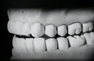 A close up of plaster model of a set of teeth.