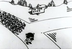 Cartoon animation shows General Germ at the head of an army germ devils marching through the streets pf the body, invading different parts. A street sign reads: 'To the eyes.'