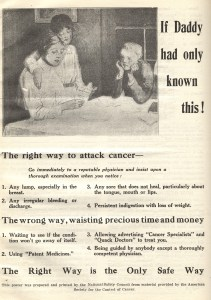 A poster titled used during the American Society for the Control of Cancer's first annual Cancer Week in 1921, featuring an illustration of a woman and two children reading a pamphlet and information about how to attack cancer.