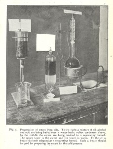 A half-tone reproduction of a photograph of glassware and tubes for a chemical process.