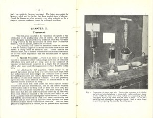 A page spread showing the start of Chapter 2: Treatment, and an illustration of chemical aparatus.