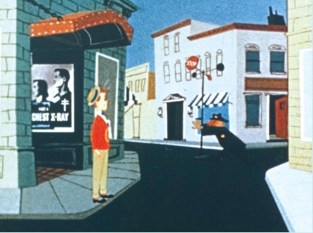 Rodney in the street by a public health poster urging chest X-Rays.