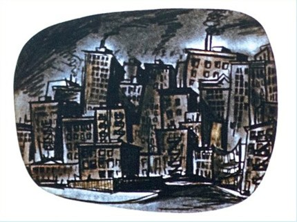 A television screen view of a grimy, polluted city.