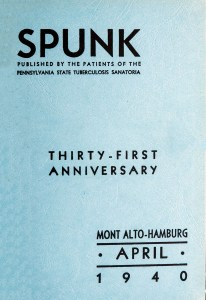 Blue cardstock cover of April 1940 issue of Spunk.