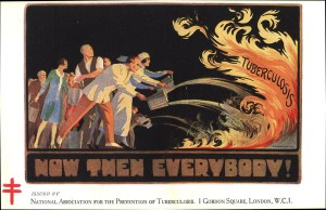 A postcard shows people throwing buckets of water on flames labeled Tuberculosis.