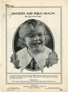 An oval-framed photograph of a smiling girl appears on the cover page of a dental pamphlet entitled Dentistry and Public Health: The Care of Teeth