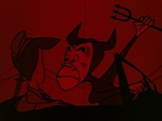 Ed Parmalee, behind the wheel of his car and sitting next to his wife, is turned into a devil with a pitchfork. The entire scene is tinted red, indicating anger.