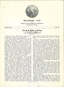 First page of a publication featuring a eulogy for DeLee.