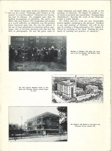 Scanned page of a eulogy for DeLee featuring photographs of buildings and a group of women outdoors at a groundbreaking ceremony.