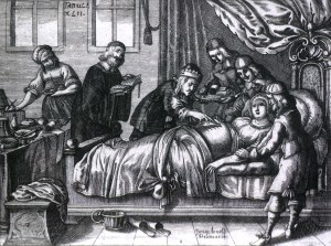 An engraving of a surgeon and five attendants performing a caesarean section.