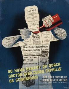 """The shape of a man pouring a dose of medicine into a spoon overlaid with news clippings and advertisements for """"cures."""""""