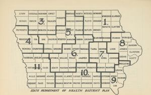 Chart of eleven Iowa districts and location of health department offices.